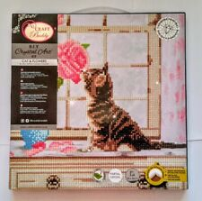 Craft Buddy Crystal Art KIT su tela (Cat & Fiori) 30 x 30cm