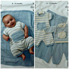 Knitting Pattern Bambino A Righe Romper Suit Set e Coperta DK King Cole 3318