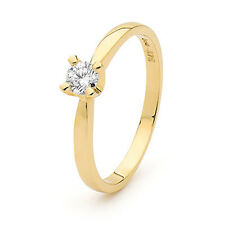 GENUINE DIAMOND ROUND 0.25ct SOLITAIRE ENGAGEMENT RING SOLID 9K YELLOW GOLD