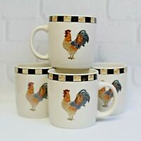 """Set of 4 Gibson Brewster Rooster Chicken Coffee Tea Cup Mug Country Farmhouse 4"""""""