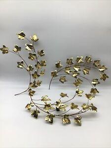 3 Vintage Wall Hanging Gold Leaves Spray Brass Copper Welded Art Sculpture MCM