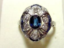 14K Yellow and White Gold Ring, Size 9.5,Sapphire and Old European Cut Diamonds