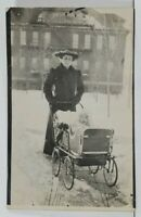 RPPC Victorian Women Pushing Baby Pram Carriage in Snow c1907 Postcard C18