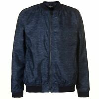 Pierre Cardin Slub Bomber Jacket Mens Navy Full Zip Long Sleeve Size S *REF138