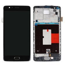 Negro LCD Toque Pantalla Digitizer Assembly Frame con Home Botón Para OnePlus 3