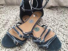 Report Footwear Velvet Strappy Sandals Flats Women's 7m Dusty Blue PLEASE READ!