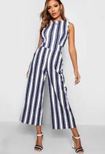 Stunning Boohoo High Neck Wide Leg Stripe Jumpsuit Size 8 -16