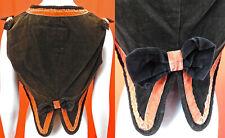 Victorian Brown Orange Velvet Bow Trim Vest Short Coattail Bolero Jacket Top Vtg