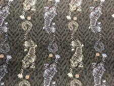 CLARKE & CLARKE - TIGRIS - CURTAIN FABRIC BY EMMA SHIPLEY 100% COTTON 2.2m NAVY
