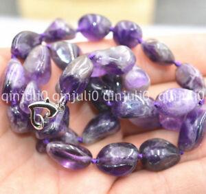 "Genuine Natural 10x14mm Irregular Brazil amethyst gemstone beads necklace 18"""