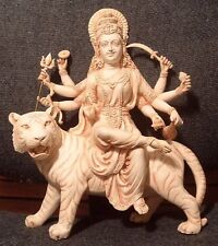 Durga Statue on Tiger Ancient Mother Goddess Hindu Vaishno Devi Figurine #LD(SS)