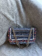 Zara Tweed Chanel Style Chain Bag With Pearls