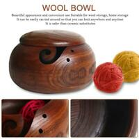 Wooden Bamboo Dust Yarn Bowl Holder With Lid Knitting Tool Crochet Wool Storage