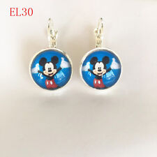 1 pair Handmade Disney mickey mouse round glass silver Dangle Earrings #EL30 .