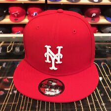 New Era New York Mets Snapback Hat Cap All Red/White/Grey Bottom