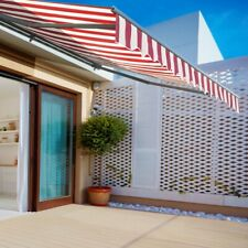 ALEKO Half Cassette Retractable Patio Deck Awning 16x10 ft Multi-stried Red