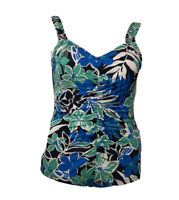 Gabar Womens Swimsuit Size 16 Blue Green Floral Bathing Suit One Piece Ruched