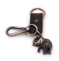 Elefante Animal Paquidermo Bronce Antiguo Cuero Artificial Llavero Colgante