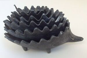 Vintage Stackable Nesting Metal Hedgehog Ashtrays Bowls Walter Bosse Style