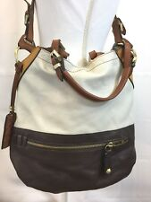 Oryany Sydney Colorblock Crossbody Purse Large Brown Tan Ivory Leather Tote Bag