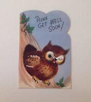 Vintage Get Well Greeting Card - Rust Craft:  Owl Googly Eye
