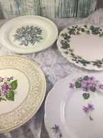 4 Vintage Mismatched China Dinner Plates  Purple Florals  # 239