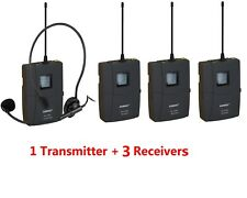 EX-218 UHF Wireless Headset Microphone Audio Tour Guide System 12 Channels(1T3R)