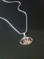 Cincinnati Bengals Pendant/Necklace NFL Football (Sterling Silver Chain)
