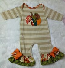 Baby Girl 18 Month Bows and Ruffles Peaches N Cream Pumpkin Outfit