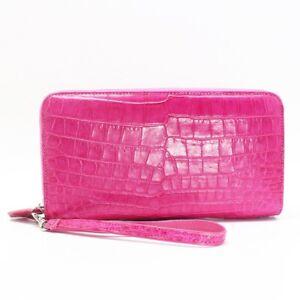 Pink Genuine Alligator Crocodile Skin Leather Women's 2 Zipper Wallets Purse
