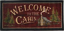 """20X44 """"Welcome to the Cabin"""" Red Cabin Lodge Kitchen Rug Mat Washable Accent"""