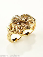NEW $55 Ettika Jewelry 18KGP Gold Snake Double Finger Ring Size 7.5 & 8