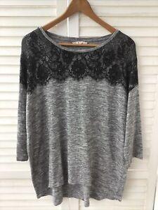 Sainsburys TU Woman Size 20 Marle Grey Jumper With Black Eyelash Lace Detail