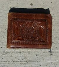 Vintage Brown Leather Mexico Designed Wallet Hand Carved Aztec Calendar