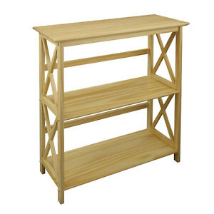 Casual Home Soild Pine Wood Montego X Design Style 3 Shelf Bookcase, Natural
