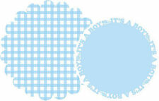 Gingham Baby Shower Boy Scalloped Placemats. 8 per Pack