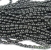 100pcs Natural Black Jet Hematite Gemstone Rice Spacer Beads 4mm 6mm 8mm 12mm