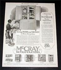 1927 OLD MAGAZINE PRINT AD, McCRAY REFRIGERATORS, SAVING FOOD AND MONEY, NORGE!