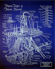 "Sailing Ship Mast & Rigging Blueprint Plan Drawing 20""x24"" (012)"