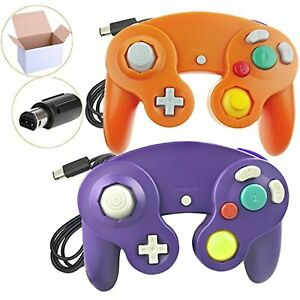 Lot Of 2 Packs Classic Ngc Wired Controllers For Wii Orange And Purple For