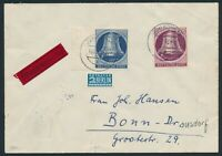 Berlin 1951, Mi. 78-79 auf Brief, portorichtige MiF auf Eilbrief, Mi. 180,-€