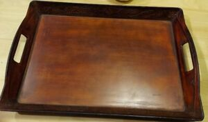 """Serving Tray Better Homes & Garden Rustic Wood look 13"""" X 20"""" X 2.5""""RARE VINTAGE"""