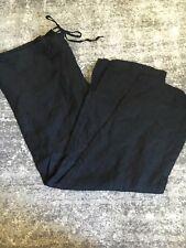 Eileen Fisher Black Linen Ankle Crop Pants Drawstring Waist Size Medium