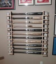 11 Bat - Wood Baseball Bat Display Rack w/ Double Shelves  ( SEE DESCRIPTION  )