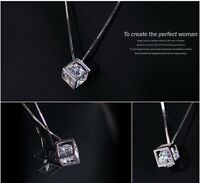 Anhänger 925 Sterling Silber für Halskette Diamant Zirkon Damen Schmuck Würfel