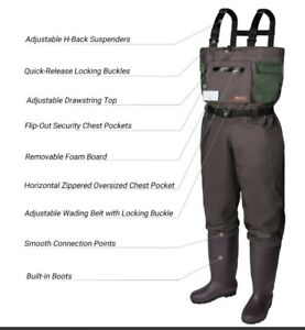 RUNCL Chest Waders, Waist-High Bootfoot Waders - Reinforced Nylon Outer(Boot 13)