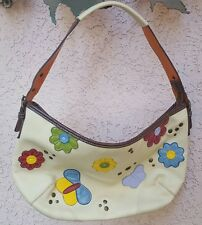 Satchel handbag tote purse Cream w Colorful Butterflys and flowers Colors Galore