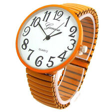 Orange Super Size Case Easy to Read Stretch Band Watch