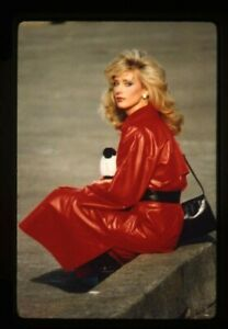 Morgan Fairchild Red Leather Trenchcoat Vivid Color Original 35mm Transparency