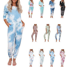 Women Casual Tie-dyed T-shirt Trousers Suits Long Sleeve Home Clothes Tracksuits